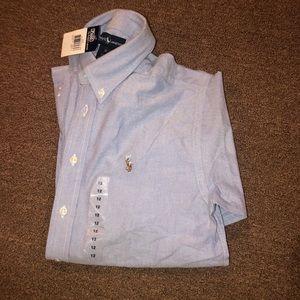 NWT Ralph Lauren girls blue blouse size 12